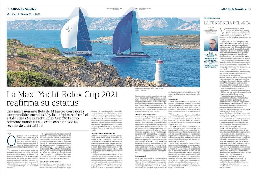 Artículo publicado en el Diario ABC - Septiembre 2021 en su suplemento de náutica